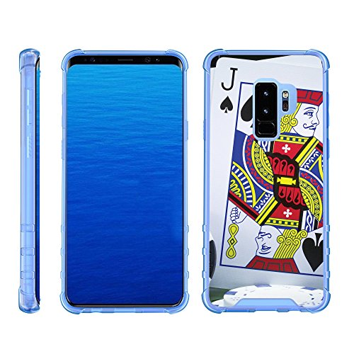 (TurtleArmor | Compatible for Samsung Galaxy S9+ Case | S9 Plus Case | G965 [Flexible Armor] Slim TPU Hard Plastic Back Cover Shock Bumper Case with Blue Edges Casino - Blackjack)