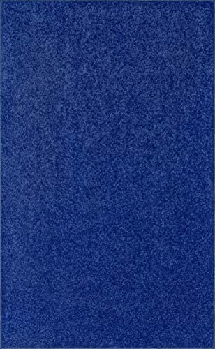 Home Queen Pet Friendly Solid Color Area Rugs Neon Blue, 6 x 9 with Non Slip Backing