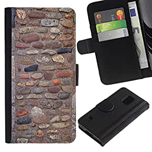 UberTech / Samsung Galaxy S5 V SM-G900 / Stone Wall Cobble Old Ancient Pattern / Cuero PU Delgado caso Billetera cubierta Shell Armor Funda Case Cover Wallet Credit Card