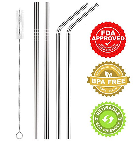 - Green Heart Stainless Steel BPA Free Reusable Straw with Cleaning brush, 9.5-Inch, Set of 4 (2 Bent and 2 Straight Wide Mouth)