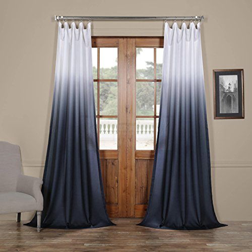 FELCH-OMB1707-108 Ombre Faux Linen Semi Sheer Curtain, Blue, 50 x 108