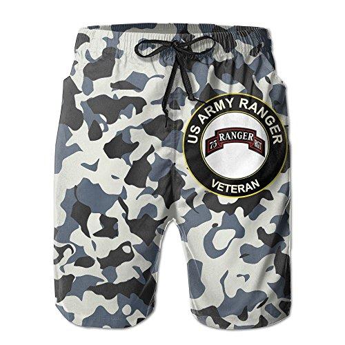 US Army Veteran Airborne 75 Ranger RGT Mens Casual Shorts Drawstring Board Shorts Swim ()