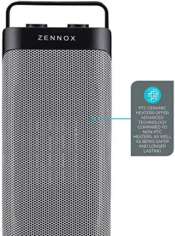 Zennox Oscillating Ceramic Tower Fan Heater, PTC Technology, 2 Heat Settings, Safety Overheat Protection, Portable (Black, 2000W)