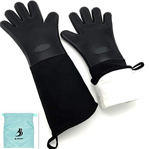 (DAMUZHI Extra Long Silicone 1 Pair,Kitchen Gloves Heat Resistant,Cooking,Baking,Grilling,Oven Mitts Heavy Duty,Black (19.7