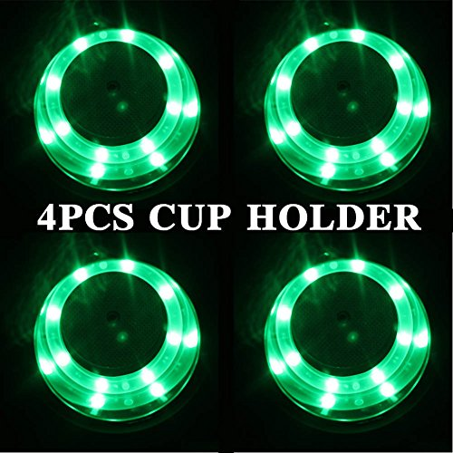 4 Pieces LED Stainless Steel Cup Drink Holder with Drain & LED Marine Boat Rv Camper (Green) - Stainless Led