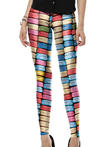 Mosszra Macaron Vector Seamless Digital Print Stretchy Pants Tights Leggings -