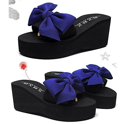 Dulce Color Mujeres UK3 CN35 Grueso la Sandalias Azul Bohemia de Antideslizante 7cm Romanas Abierta Punta Nudo Zapato Cuñas del Feifei Verano EU36 de Zapatos 5 Tamaño Mariposa Playa Azul 4Iwwq15
