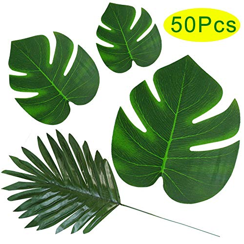 Outee 50 Pcs 4 Kinds Artificial Palm Leaves Tropical Leaves for Party Decor Supplies Faux Plants Long Stem Monstera Banana Leaf for Safari Jungle Party Luau Hawaii Flower Arrangements