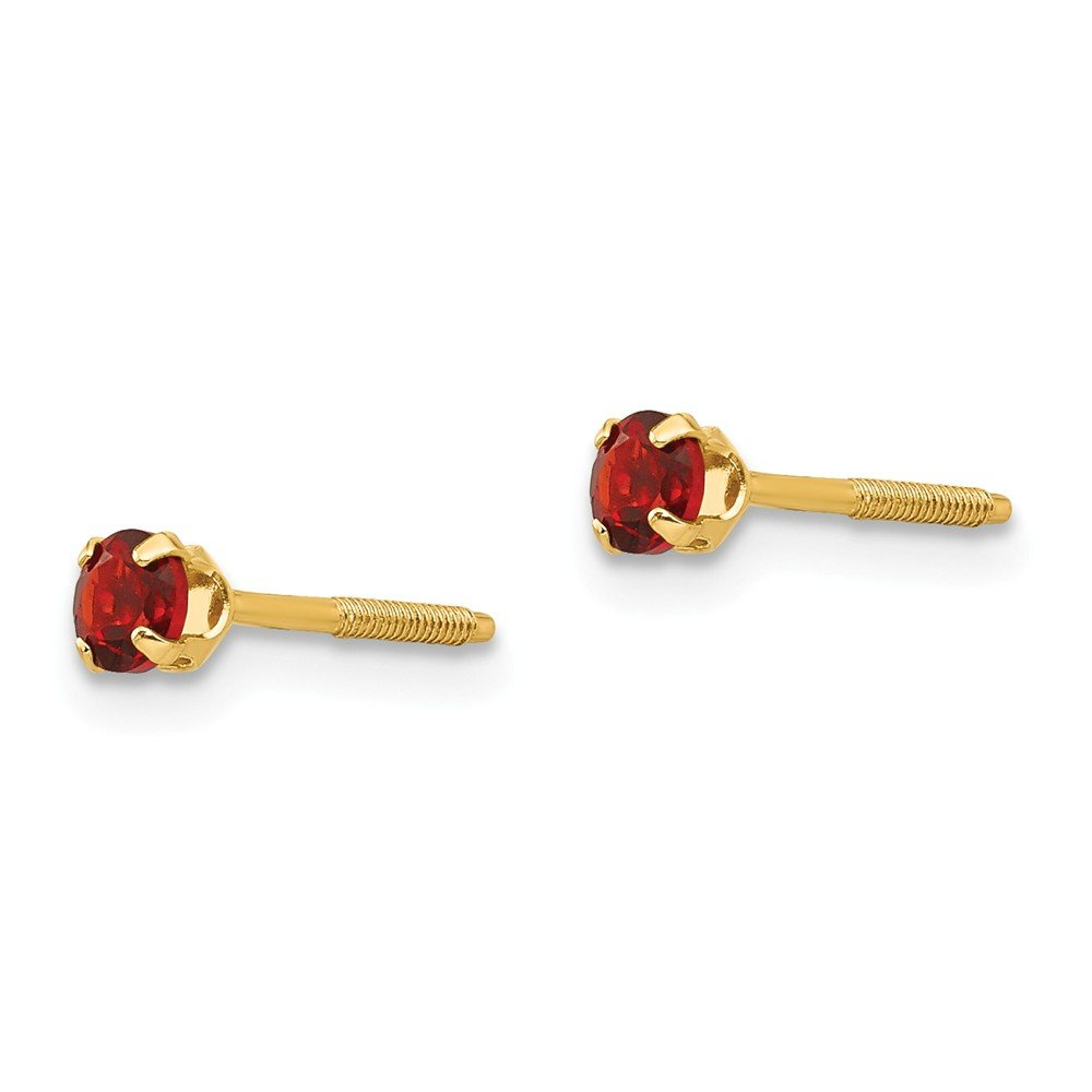 14K Yellow Gold Madi K Childrens Birthstone Screw Back Stud Earrings
