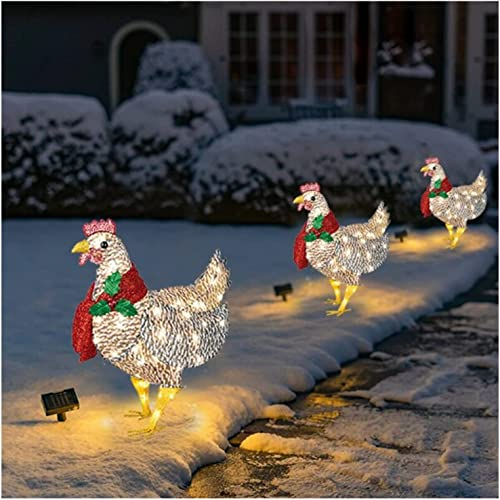 YGBrand Light-Up Chicken with Scarf Holiday Decoration Christmas Ornaments Rooster Animal Garden Stakes for Lawn