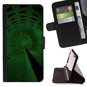 DEVIL CASE - FOR Samsung Galaxy Note 4 IV - Green Space Tunnel - Style PU Leather Case Wallet Flip Stand Flap Closure Cover