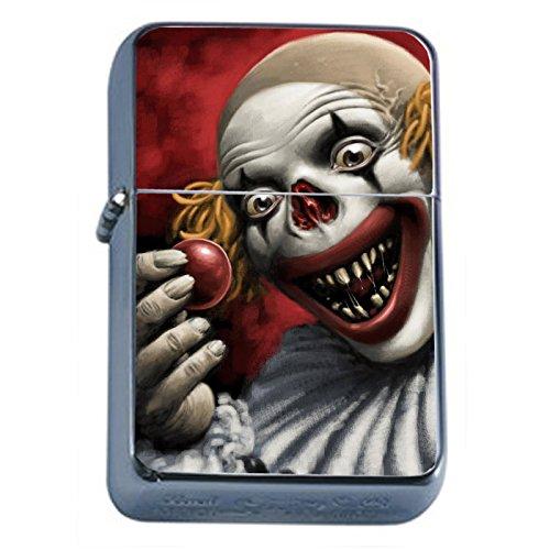 Evil Clowns Scary Horror Flip Top Oil Lighter S7 Smoking Cigarette Smoker Includes Silver Case (Evil Clown Lighter)