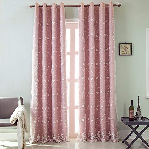 (Eyelet Lined Curtains Grommets Room Darkening Curtains Window Treatment Curtain Panels 2pcs,Pink,107160cm )