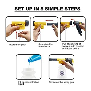 Foam Gun Car Wash Foam Sprayer Soap Foam Blaster, Adjustable Ratio Dial Foam Cannon for Cleaning with Quick Connector to Any Garden Hose (with Wash Mitt & Towel) (Color: yellow)