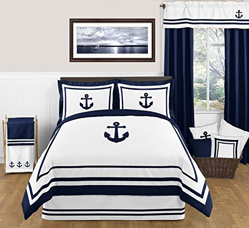 Sweet Jojo Designs 3-Piece Anchors Away Nautical Navy and White Boys Full/Queen Bedding Set
