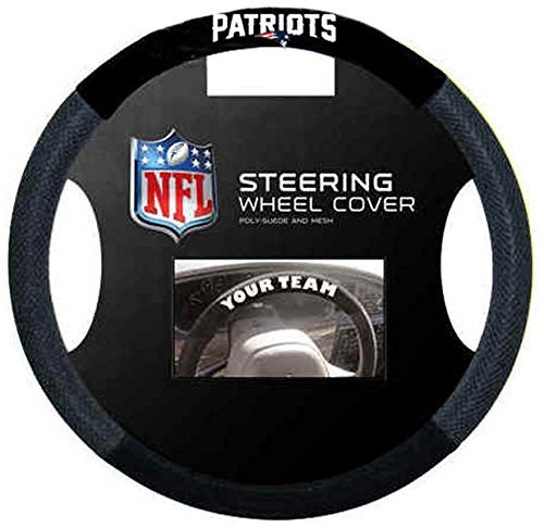 New England Patriots NFL Team Logo Car Truck SUV Poly-Suede Mesh Steering Wheel Cover by LA Auto Gear