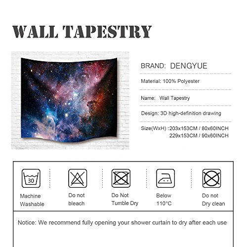 Space Decor Tapestry Large Size, Galaxy Stars in Space Celestial Astronomic Planets in the Universe Milky Way Print, Wall Hanging for Bedroom Living Room Dorm, 80L X 60W Inches, Navy and Purple by DENGYUE (Image #4)
