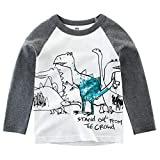 Jchen Little Kids Spring Cute Cartoon Tops, (TM) Kids Baby Boy Cartoon Dinosaur Shark Print T-Shirt Tee Tops for 1-8 Y (Age:4-5 Years, C)