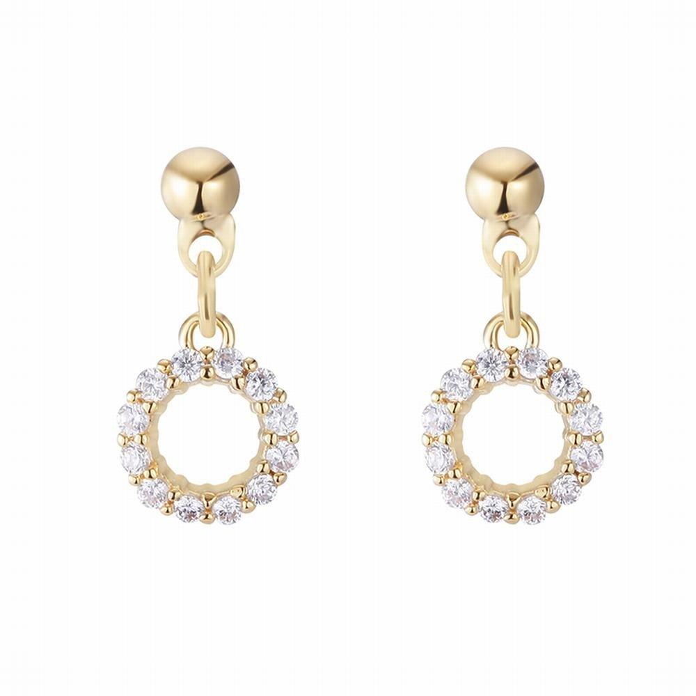 Ling Studs Earrings Hypoallergenic Cartilage Ear Piercing Openwork Geometric Earrings Zircon Short Earrings