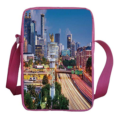 United States Stylish Kids Crossbody Bag,Atlanta Georgia Urban Busy Town with Skyscrapers City Landscape Decorative for Girls,9