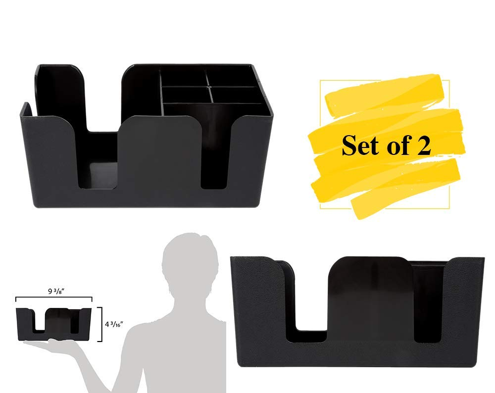 Barware Napkin and Straw Organizer MM Foodservice Set of 2 Counter Top Bar Caddy with 6 compartments