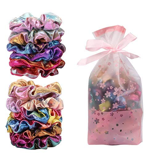 Gift Dance Set (Ondder Shiny Metallic Scrunchies with Gift Bag, Gymnastic Ponytail Holders Women Mermaid Hair Scrunchies Bobbles Elastic Hair Ties Bands for Gym Dance Party Club, Set of 12 Multicolored)