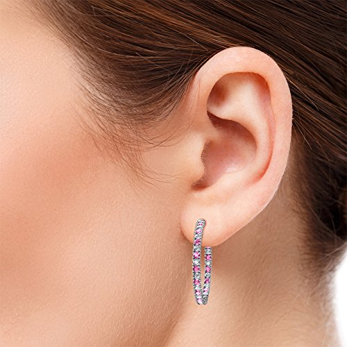 TriJewels Pink Sapphire and Diamond 2mm Inside-Out Hoop Earrings 1.85 Carat tw in 14K White Gold
