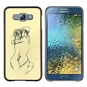 """Be-Star Único Patrón Plástico Duro Fundas Cover Cubre Hard Case Cover Para Samsung Galaxy E7 / SM-E700 ( Amarillas Lovers Sketch Lápiz Desnudo"""" )"""