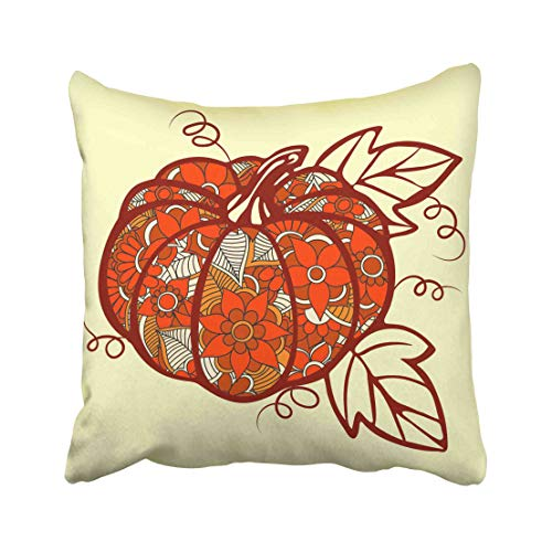Emvency Coffin Pumpkin Doodle Line Vegetables Halloween Party Holidays Collection Cute Fall Ghost Hat Jack Leaf Throw Pillow Covers 18x18 inch Decorative Cover Pillowcase Cases Case Two Side