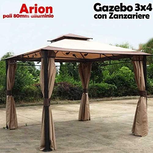 Bakaji - Cenador de jardín de 3 x 4 m, modelo Arion, estructura de metal y postes