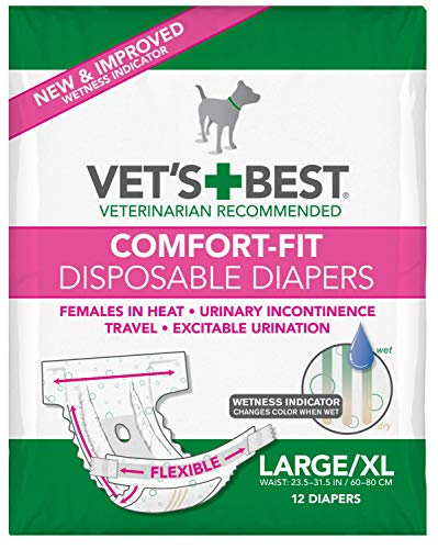 Vet's Best Diapers with Tail-Hole for Female Dogs, Comfort-Fit Disposable, Large/X-Large, 12 Count, 3 Pack