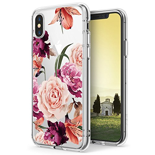 (Case Compatible with iPhone Xs/XS Max/XR Crystal Clear Ultra Slim Protective Soft TPU Flower Design Cover (1))