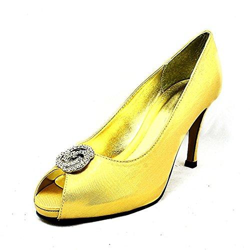 Shimmer raso abierto del dedo del pie zapatos de la boda de tacón medio Oro