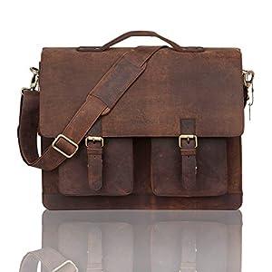 Leaderachi- Hunter Leather Laptop Briefcase Bag [Veneto, Muskat]