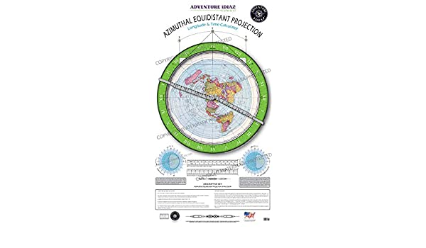 Azimuthal Equidistant Projection of the World - Flat Earth Map ...