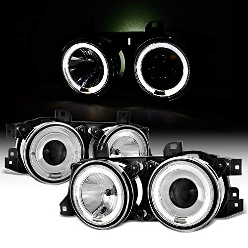 For BMW E34 E32 5/7 Series Chrome Bezel Dual Halo Ring Projector Headlights Lamps Left + Right 95 Bmw E34 Led