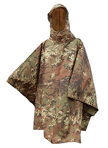 (Brand New Fashion Us Waterproof Hooded Ripstop Wet Festival Rain Poncho Vegetato Woodland Camo)