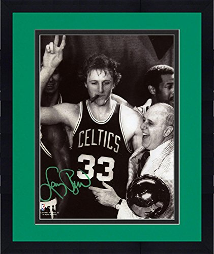 Framed Larry Bird Boston Celtics Autographed 8'' x 10'' Celebration with Auerbach Photograph with Green Ink - Fanatics Authentic ()