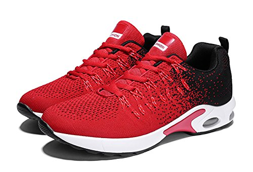No.66 Town Womens Mens Air Breathable Walking Sneakers Lightweight Athletic Tennis Running Shoes Size 9.5/8 Red