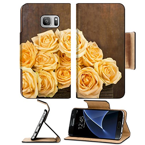 Liili Premium Samsung Galaxy S7 Flip Pu Leather Wallet Case The Prayekrasny white rose covered with drops of Rossa on a brown background - Rosso Justin