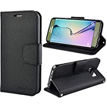 Galaxy S6 Edge Case, S6 Edge Leather Case, Folio Wallet Card Slot Cover with Mangetic Closure, Hand Strap and Stand Function for Samsung Galaxy S6 Edge (Black)