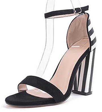 43dba0f0993 IDIFU Women s Fashion Striped High Block Heels Sandals with Ankle Strap ( Black