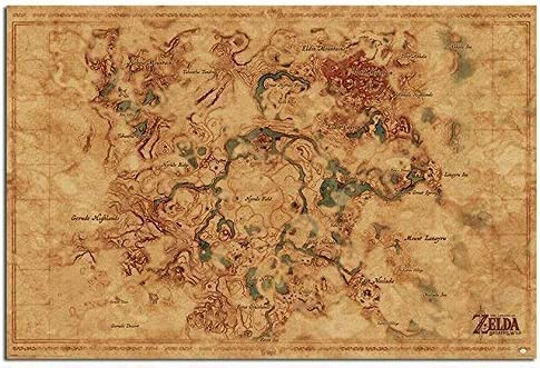 Amazon Com The Legend Of Zelda Breath Of The Wild Hyrule Map Poster Gloss Laminated 91 5 X 61cms 36 X 24 Inches Posters Prints