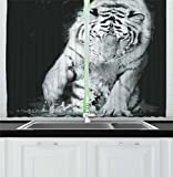 Cheap Ambesonne Tiger Kitchen Curtains, Black and White Image of Large Cat Playing with Water Cool Animals Fun Hunter, Window Drapes 2 Panel Set for Kitchen Cafe, 55 W X 39 L Inches, Black Light Grey