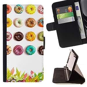 Momo Phone Case / Flip Funda de Cuero Case Cover - Anillos de espuma esmaltados Sugar Rush colorido Arte - Sony Xperia M2