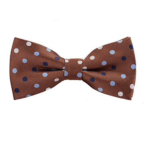 - Mens Classic Polka Dots Patterned Bow Ties, Brown