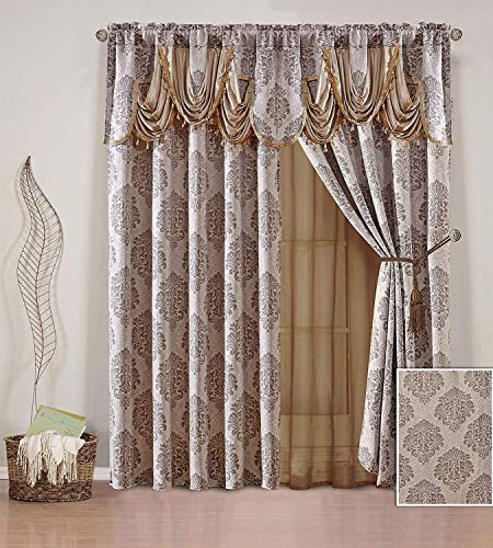 Linen Plus 2 Panel Rod Pocket Embroidery Curtain Drape Set with Sheer Backing, Attached Valance and Tassel Tie Backs New # Briana Coffee/Brown 2 New Valances Curtains