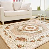 European Style Modern Simplicity Living Room Bedroom Large Carpet Bedside Coffee Table Rugs ( Color : Beige , Size : 130x190cm )