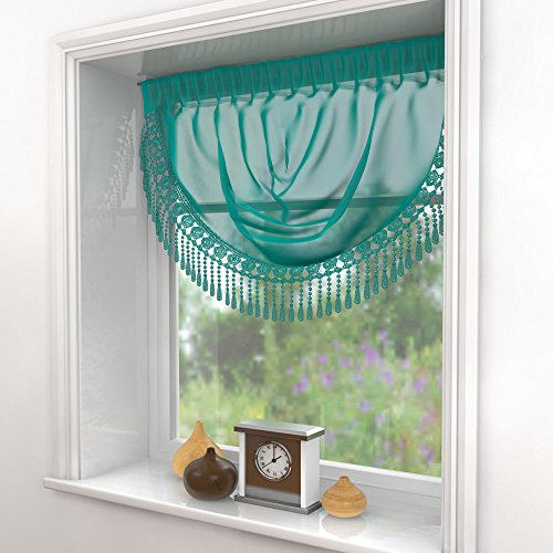 """Mirabel Macrame Ready To Hang Voile Panel Swag Decorative Window Treatment 30"""" x 24"""" (76cm x 61cm) approx Teal Blue"""
