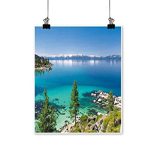 Single Painting Lake Tahoe Sierra Pin Turquoise Waters Shoreline Blue Grey Green Office Decorations,24